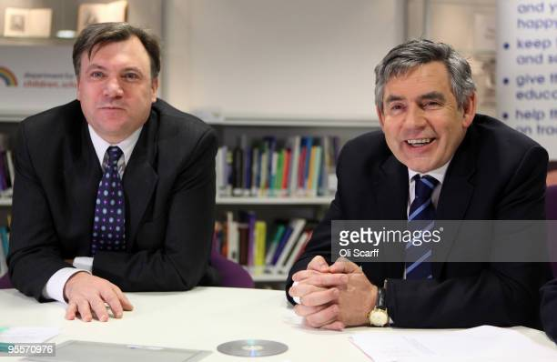 British Prime Minister Gordon Brown and Secretary of State for Children Schools and Families Ed Balls meet school children receiving onetoone tuition...