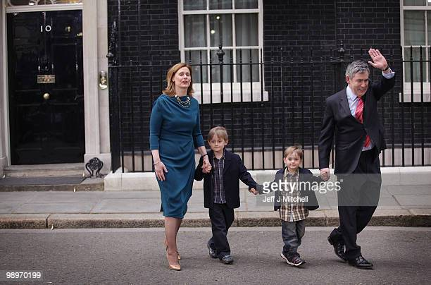 British Prime Minister Gordon Brown and wife Sarah and their sons John and James Fraser leave Downing Street on May 11 2010 in London England After...