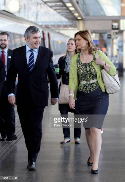 British Prime Minister Gordon Brown and wife Sarah Brown arrive at St Pancras Station to board a train to Bedford on April 17 2010 in London England...