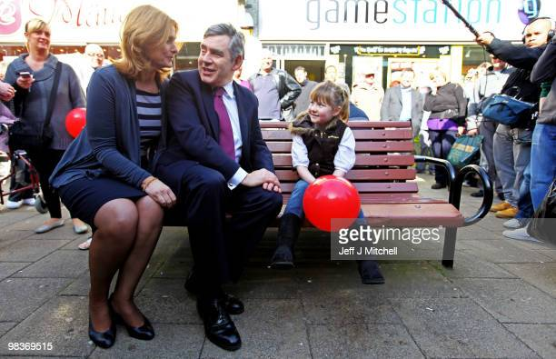 British Prime Minister Gordon Brown and wife Sarah Brown talk with Amy Leigh aged 8 as they meet members of the public as part of the Labour Party's...