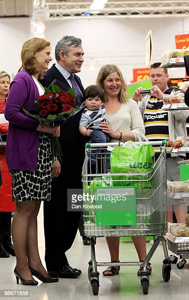 British Prime Minister Gordon Brown and wife Sarah Brown visit an Asda supermarket on April 26 2010 in Weymouth United Kingdom The General Election...