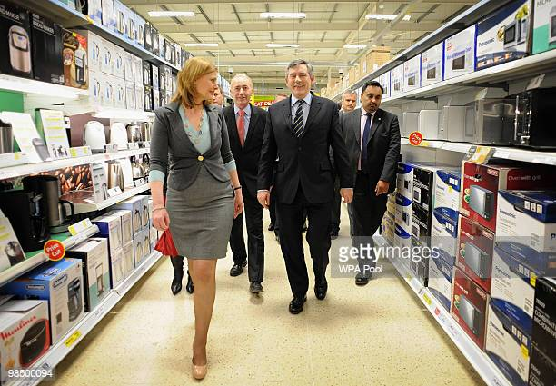 British Prime Minister Gordon Brown and wife Sarah visit a Tesco Extra store in St Leonards on April 16 2010 in St Leonards England The General...
