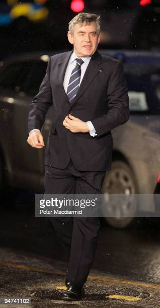 British Prime Minister Gordon Brown arrives for the final day of the UN Climate Change Conference on December 18 2009 in Copenhagen Denmark World...