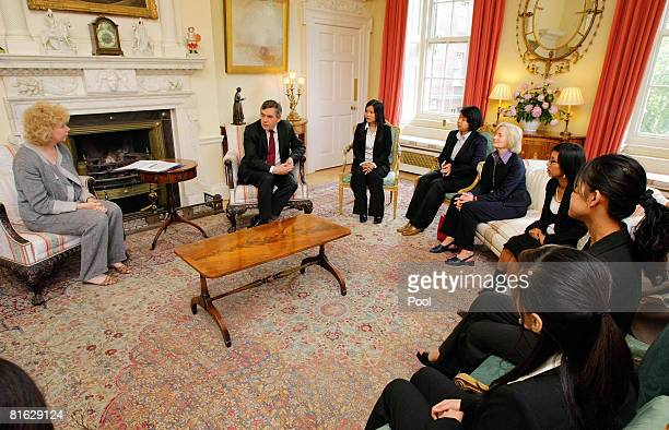 British Prime Minister Gordon Brown attends a meeting with the Ethnic Woman's delegation from the Burma Campaigns UK Meg Munn MP Zoya Phan Hlaig MM...