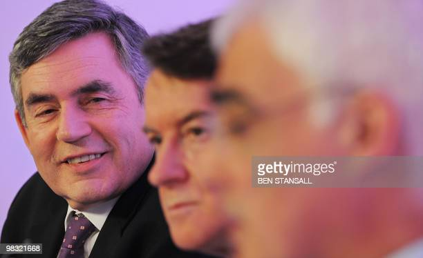 British Prime Minister Gordon Brown Business Secretary Lord Mandelson and Finance Minister Alistair Darling address a press conference in London on...