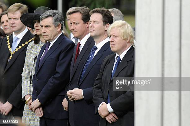 British prime minister Gordon Brown Conservative Party leader David Cameron Liberal Democrat leader Nick Clegg and Mayor of London Boris Johnson...