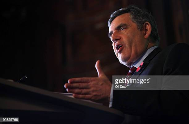 British Prime Minister Gordon Brown delivers a speech to the Royal College of Defence Studies setting out Britain's position in the ongoing war in...