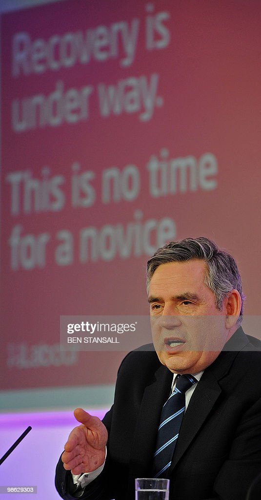 British Prime Minister Gordon Brown gestures during a press conference in central London on April 23, 2010. Brown accused his opponents of leaving Britain poorly defended against nuclear attack and at risk of isolation in Europe, in yesterday's second TV pre-election debate.