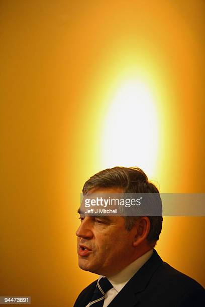 British Prime Minister Gordon Brown gives television interviews at the Radisson hotel in Copenhagen ahead of bilateral talks with Australian Prime...