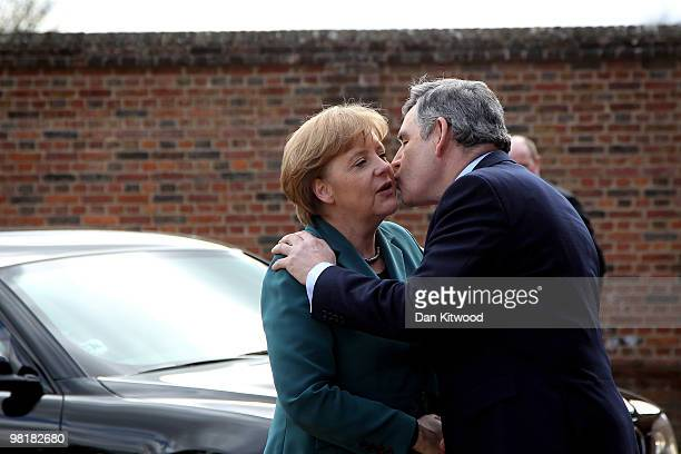 British Prime Minister Gordon Brown greets German Chancellor Angela Merkel to Chequers the Prime Minister's official country residence on April 1...