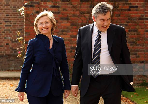 British Prime Minister Gordon Brown greets United States Secretary of State Hillary Clinton at Chequers the Prime Minister's official country...