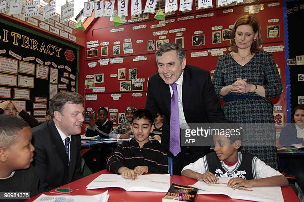 British Prime Minister Gordon Brown his wife Sarah and Education minister Ed Balls visit a classroom at the Woodberry Down Community Primary School...