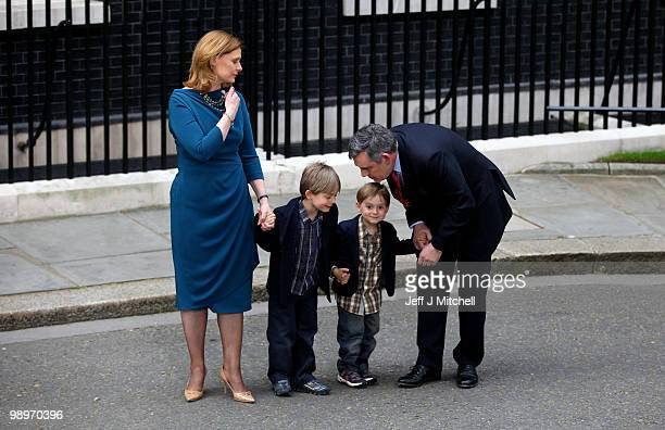 British Prime Minister Gordon Brown his wife Sarah and their sons James Fraser and John leave Downing Street on May 11 2010 in London England After...