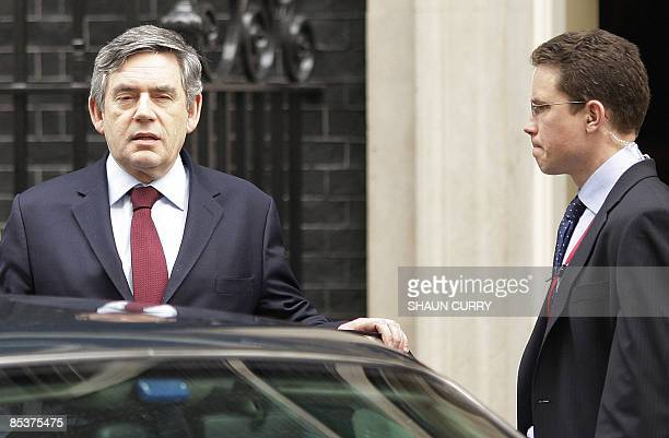British Prime Minister Gordon Brown leaves 10 Downing Street in central London on March 11 as he prepares to attend the weekly Prime Minister's...