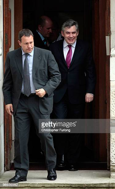 British Prime Minister Gordon Brown leaves the rear exit of the foreign office on May 9 2010 in London England With all the election results now...