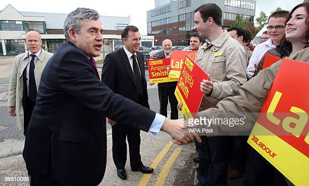 British Prime Minister Gordon Brown meets with Labour supporters at Abby Couriers on May 3 2010 in Basildon England The General Election to be held...