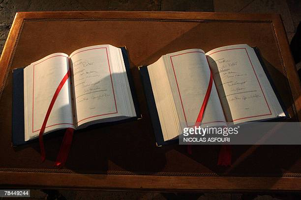 British Prime Minister Gordon Brown signature is seen inside the ''Treaty of Lisbon'' books after he signed them at the Coche museum in Lisbon 13...