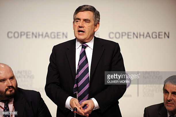 British Prime Minister Gordon Brown speaks after handing the GLOBE award for International Leadership on the Environment at the Bella Center in...