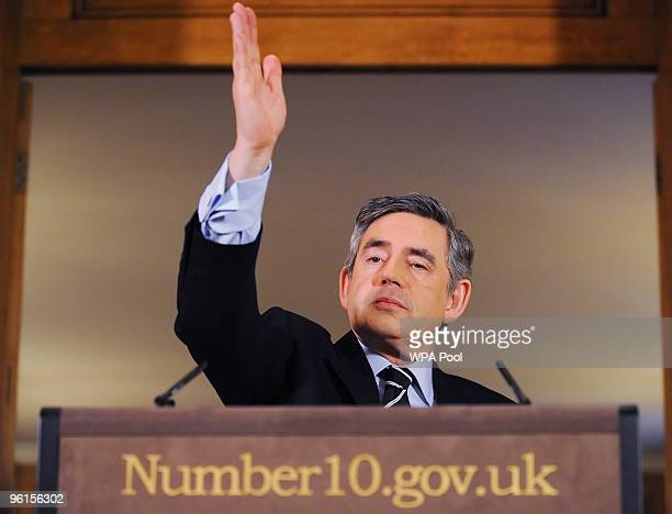 British Prime Minister Gordon Brown speaks to the media during his monthly press conference inside 10 Downing Street on January 25 2010 in central...