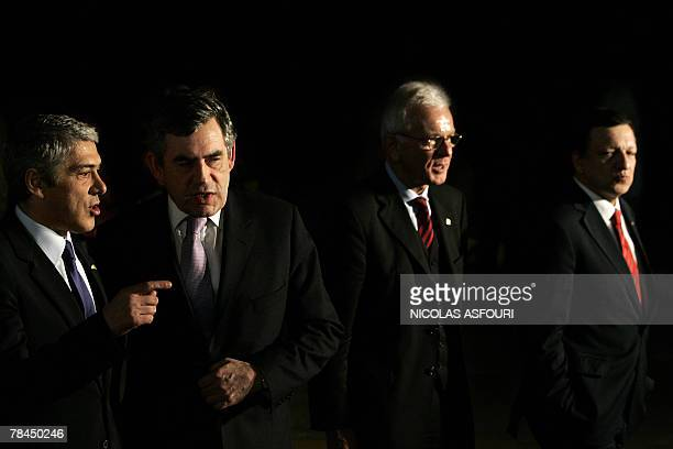 VERSION British Prime Minister Gordon Brown speaks with Portuguese Prime Minister Jose Socrates after he signed the ''Treaty of Lisbon'' as they walk...