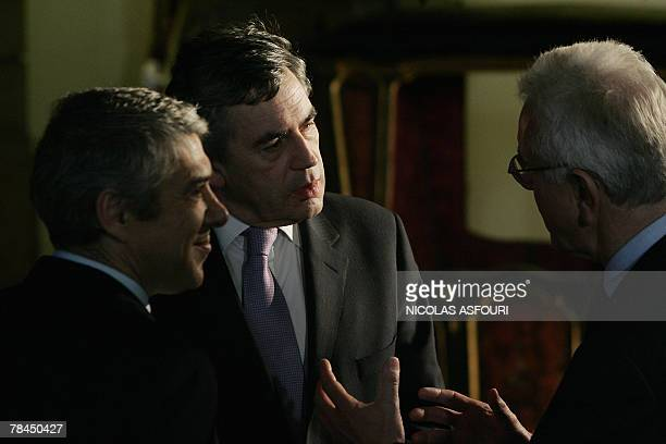 British Prime Minister Gordon Brown speaks with Portuguese Prime Minister Jose Socrates and European Parliament President HansGert Poettering after...