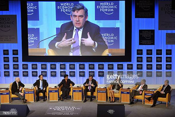 British Prime Minister Gordon Brown talks during the session 'Corporate Global Citizenship in the 21st Century' at the World Economic Forum in Davos...