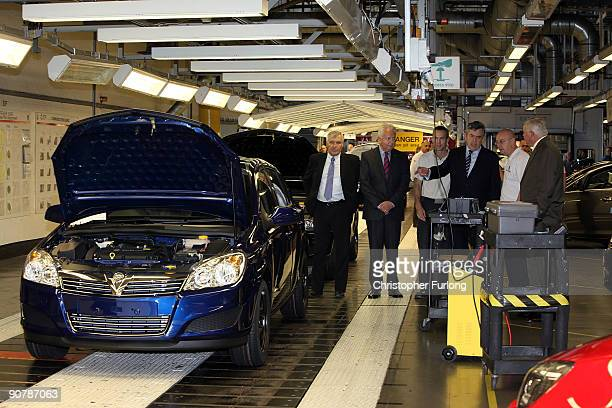 British Prime Minister Gordon Brown tours the production line of the new Vauxhall Astra which coincides with the launch of the car at the Frankfurt...