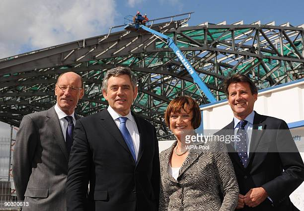 British Prime Minister Gordon Brown views the construction site of the London 2012 Olympics Aquatic Centre with Olympics Secretary Tessa Jowell...