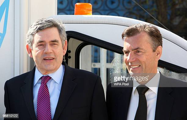 British Prime Minister Gordon Brown walks with Duncan Bannatyne at Abby Couriers on May 3 2010 in Basildon England The General Election to be held on...