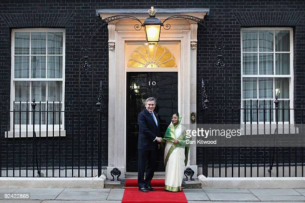 British Prime Minister Gordon Brown welcomes The President of the Republic of India Prathibha Devi Singh Patil at Number 10 Downing Street on October...