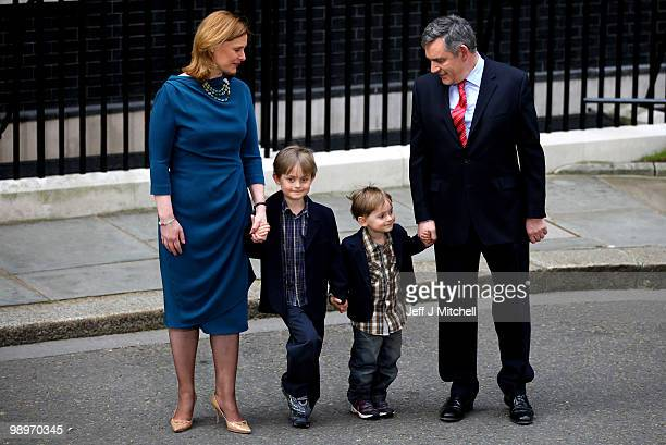 British Prime Minister Gordon Brown wife Sarah and their sons James Fraser and John leave Downing Street on May 11 2010 in London England After five...