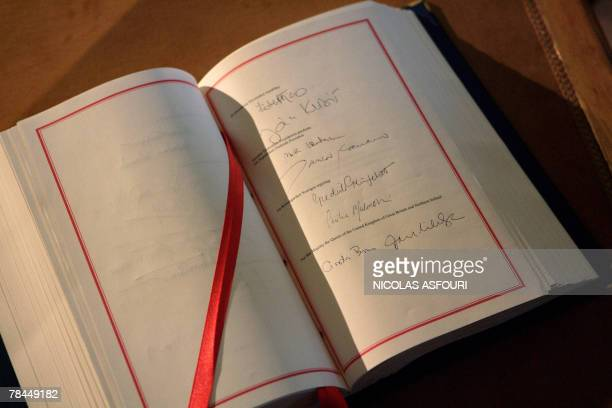 British Prime Minister Gordon Brown's signature is seen inside the ''Treaty of Lisbon'' book after he signed it at the Coche museum in Lisbon 13...