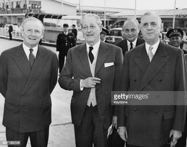 British Prime Minister Harold Macmillan and Foreign Secretary Selwyn Lloyd on arrival at Orly Airport before talks with French Prime Minister Charles...