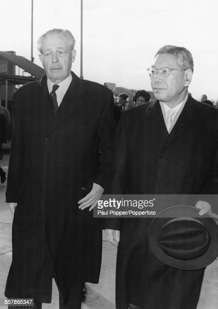 British Prime Minister Harold Macmillan greets his Japanese counterpart Prime Minister Hayato Ikeda at London Airport November 12th 1962