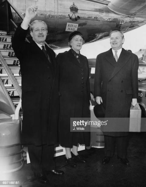 British Prime Minister Harold Macmillan with his wife Lady Dorothy Macmillan and Foreign Secretary Selwyn Lloyd at London Airport before a trip to...