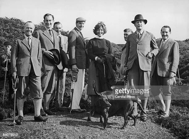 British Prime Minister Harold Macmillan with the 11th Duke of Devonshire's hunting party in Barden Moor North Yorkshire 20th August 1960 Macmillan is...