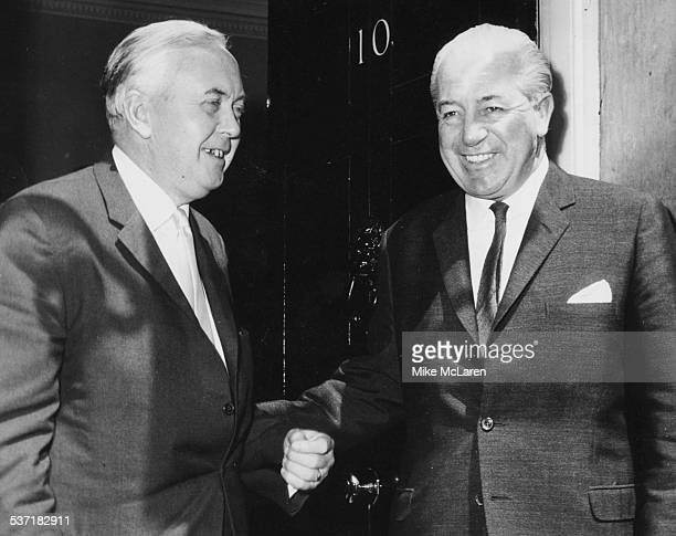 British Prime Minister Harold Wilson and Australian Prime Minister Harold Holt smiling outside 10 Downing Street London June 13th 1967