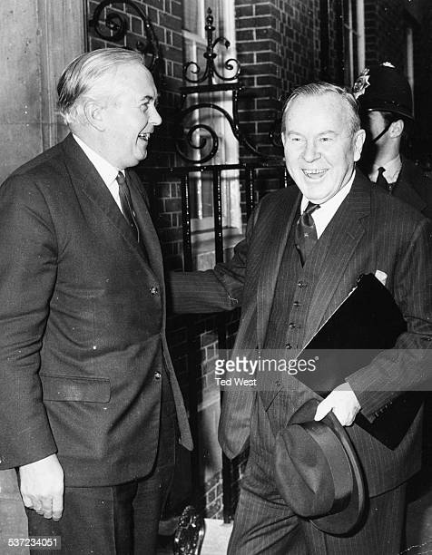 British Prime Minister Harold Wilson and Canadian Prime Minister Lester Pearson smiling outside 10 Downing Street London November 22nd 1967