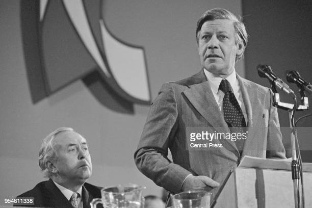 British Prime Minister Harold Wilson and German Chancellor Helmut Schmidt at the Labour Party's annual conference at Central Hall, Westminster,...