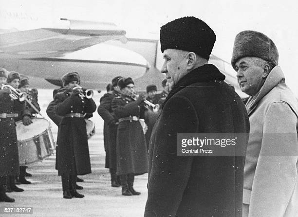 British Prime Minister Harold Wilson and his Russian counterpart Alexei Kosygin wearing fur hats and coats at Sheremetyevo Airport Moscow January...