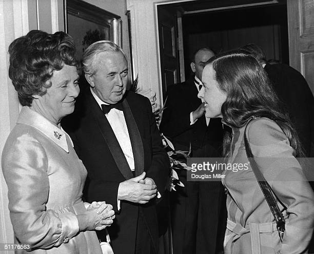 British Prime Minister Harold Wilson and his wife Mary chatting to Bernadette Devlin the Independent MP for MidUlster at a Downing Street reception...