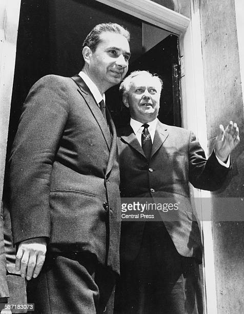 British Prime Minister Harold Wilson and Italian Prime Minister Aldo Moro smiling outside 10 Downing Street London June 27th 1967