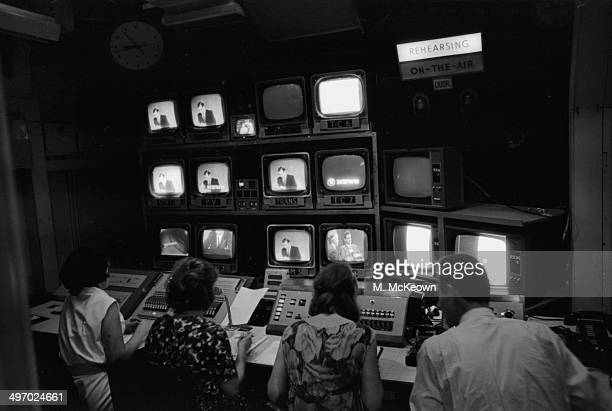 British Prime Minister Harold Wilson being watched in the studio at ITV Studios prior to broadcast London July 6th 1964