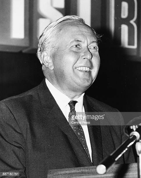 British Prime Minister Harold Wilson, giving his opening address at the 37th session of the International Statistical Institute at Queen Elizabeth...