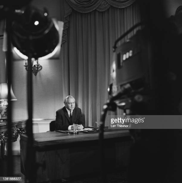 British Prime Minister Harold Wilson makes a ministerial broadcast on the Rhodesian crisis, UK, 12th October 1965.