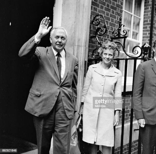 British Prime Minister Harold Wilson photocall outside Number Ten Downing Street London Monday 28th August 1967 He plans to announce details of...