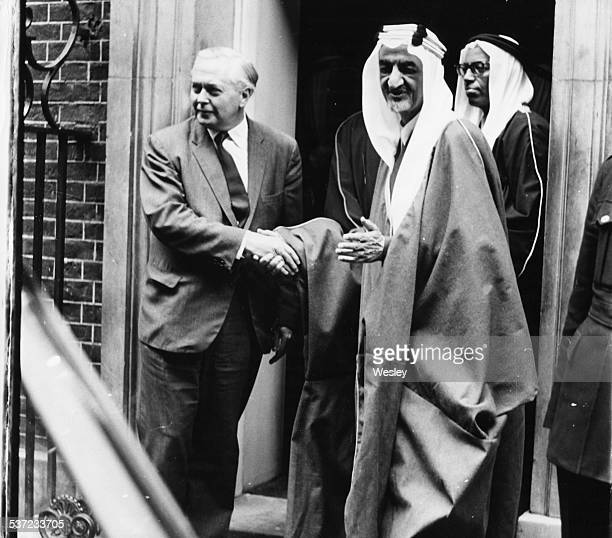 British Prime Minister Harold Wilson shaking hands with King Faisal of Saudi Arabia, outside 10 Downing Street, London, May 23rd 1967.
