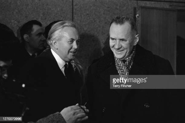British Prime Minister Harold Wilson with Russian premier Alexei Kosygin during a visit to Russia, February 1966.