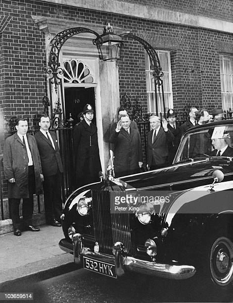 British Prime Minister Harold Wilson with Soviet statesman Alexei Kosygin outside 10 Downing Street London 6th February 1967