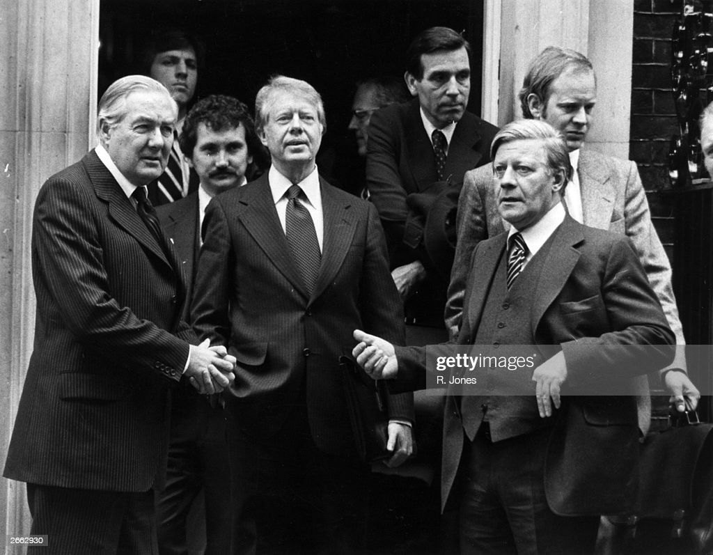 British Prime Minister James Callaghan, (left), American statesman Jimmy Carter (centre), 39th President of the United States, and Chancellor of West Germany Helmut Schmidt, (right), outside 10 Downing Street, London. Original Publication: People Disc - HC0225